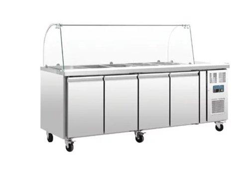 Polar GN Kühl Saladette | Einschließlich Glasstruktur Showcase | 4-türigen