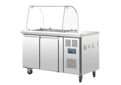 Polar Refrigerated Saladette with Glass Counter 2-door