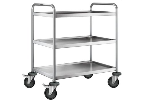 Blanco Stainless steel serving trolley 3 plateaus 90x60x95 cm