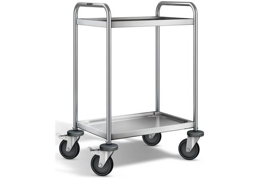 Blanco Stainless steel serving trolley 2 plateaus 70x50x95 cm