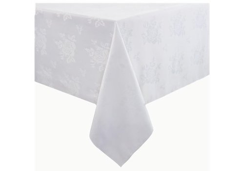 HorecaTraders Polyester Tafelkleed | Roosmotief | Wit