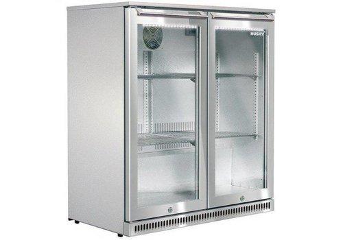 Husky Stainless steel bar fridge with two doors outdoor 170 liters