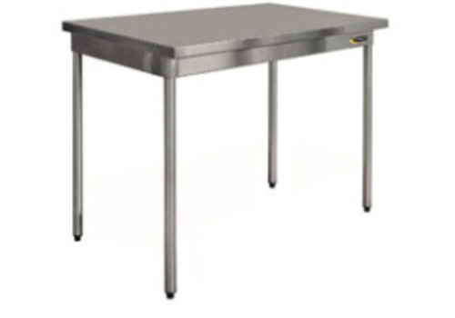HorecaTraders Stainless steel work table on legs 70 cm deep 8 formats