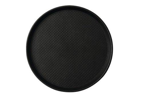 HorecaTraders Runde Anti-Rutsch-Tablett Schwarz 2 Formate