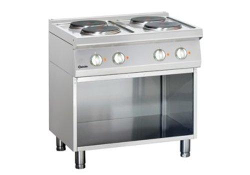 Bartscher Elektrisch fornuis met open onderbouw | 4 kookplaten