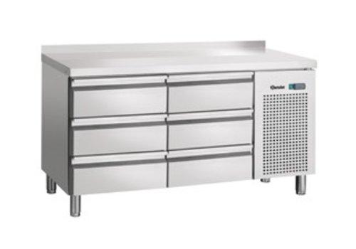 Bartscher Cool Workbench stainless steel 6 drawers with backsplash | 134 x 70 x 85 cm