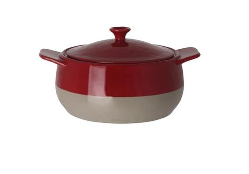 HorecaTraders Frying pan Round | Red and Taupe | 1.8L