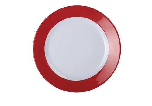 HorecaTraders Melamine Plate Red Border | 3 sizes (6 pieces)