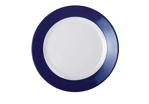 HorecaTraders Melamine Plate Blue Border | 3 sizes (6 pieces)