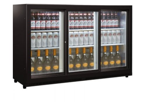 Husky Husky BackBar Cooler Black | C3Slide-865-BK-NL-HU | 3-door sliding doors with lock and LED lighting.
