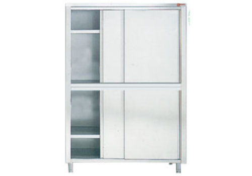 HorecaTraders Stainless steel storage cabinet with 4 sliding doors 60 cm deep