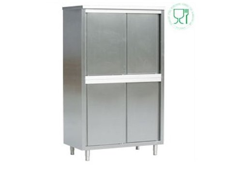 HorecaTraders Stainless steel storage cabinets with sliding doors 60 cm deep