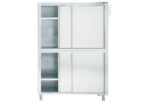 HorecaTraders Storage cabinet with sliding doors | 70cm deep | stainless steel
