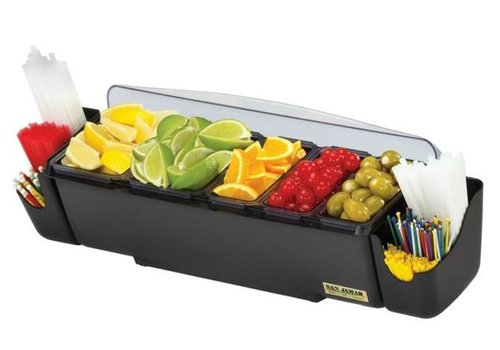 HorecaTraders Bar dispenser + straw holder | 5 Bowls | 4.95L