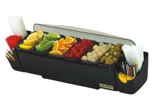 HorecaTraders Bar dispenser + straw holder | 6 trays 3.3L