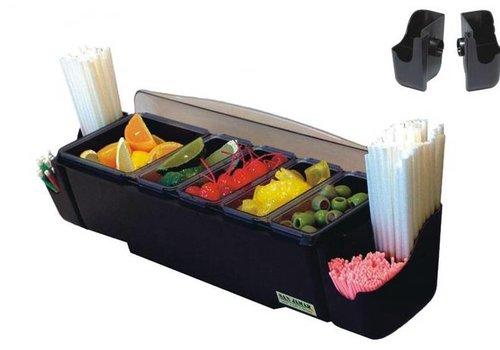 HorecaTraders Bar dispenser + straw holder | 4 trays 4.4L