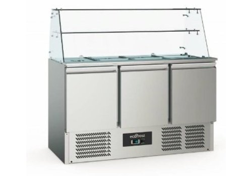 Ecofrost Saladette with Glass Display Case Stainless steel | 3 doors