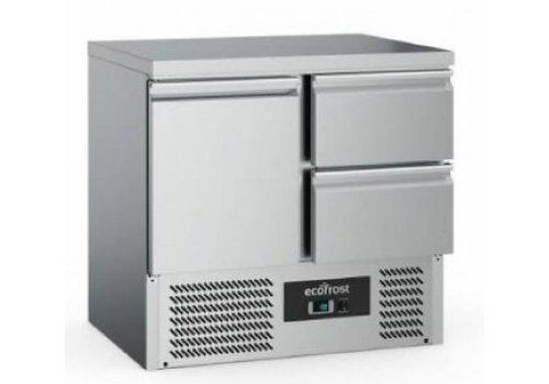 Ecofrost Kühlwerkbank | Edelstahl | 230L | 1 Tür + 2 Schubladen