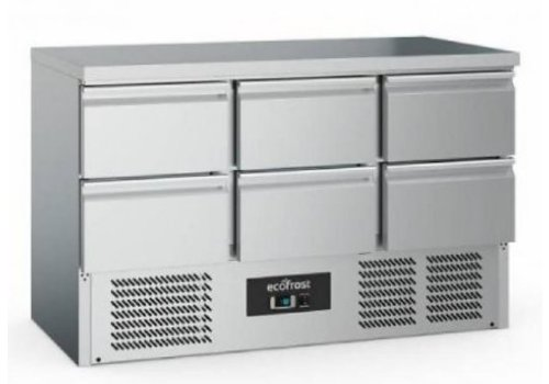 Ecofrost Cooling workbench | Stainless steel | 368L | 6 doors