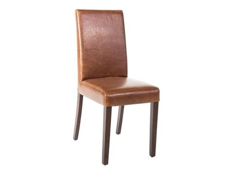 HorecaTraders Bolero Leatherette Chair Brown Antique Style 2 pieces