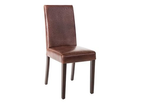 HorecaTraders Bolero Leatherette Chair Dark Brown Antique Style | 2 pieces