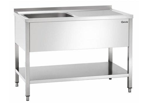 Bartscher Stainless Steel Washbasin | 1 flush back left | 120x70x85 cm