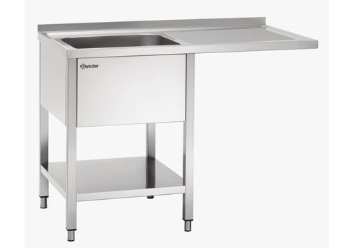Bartscher Sink table stainless steel with 1 sink right 120x70x85 cm