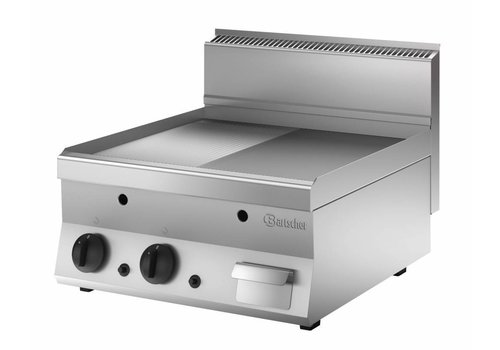 Bartscher Professional Grill plate Gas Smooth & Ribbed | 40x65x29.5 cm