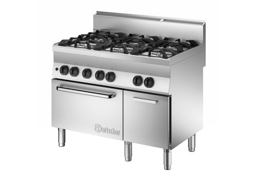 Bartscher Gas stove, gas oven and base cupboard | 6-burner