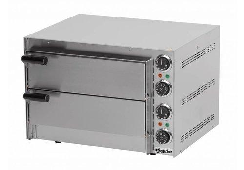 Bartscher Doppelte Edelstahl Pizzöfen 2700 Watt | 2 Pizzen