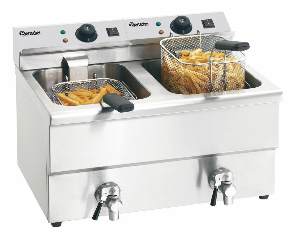 Buy Electric double deep fat fryer with oil drain tap