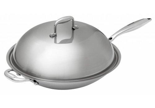 Bartscher Stainless Steel Round Bottom Wok + Cover | 38 cm Ø