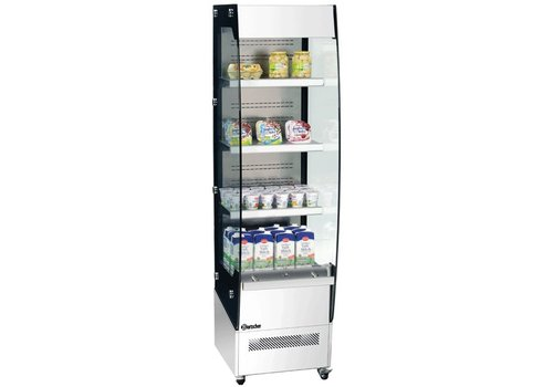 Bartscher Wall display case with wheels - 220 liters - stainless steel - LED lighting
