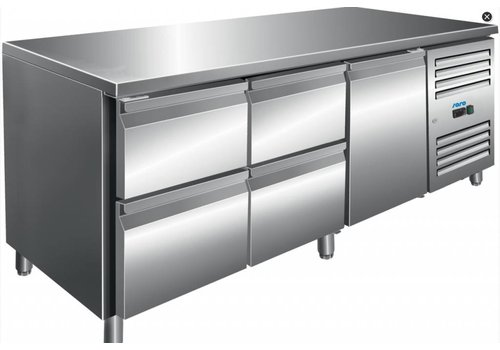 Saro Cool workbench stainless steel with 1 door and 4 drawers 179.5 x 70 x 89/95 cm