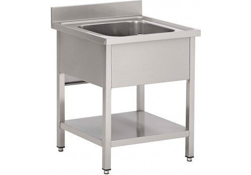 HorecaTraders Sink with overflow | SS | 70x70x85 cm