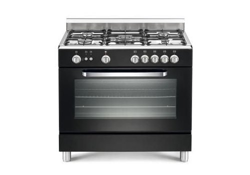 HorecaTraders Gas cooker with electric oven   5 Burners