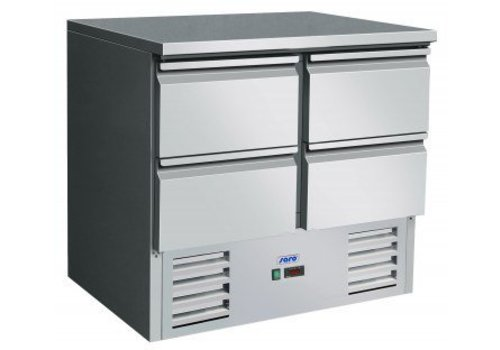 Saro Refrigerated workbench stainless steel with 4 drawers | 90 x 70 x 85 / 88.5