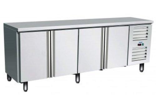 Saro Kühltisch Edelstahl 4 Türen | 223 x 70 x 89/95 cm