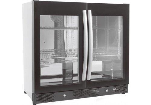 Combisteel Barkoeler Zwart | 2 Volledige Glasdeuren | 198L