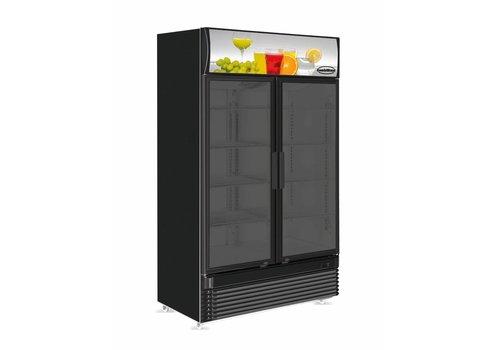 Combisteel Kühlschrank Schwarz 2 Glastüren 780 l