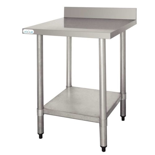 Stainless steel work table with backsplash Flatpacked