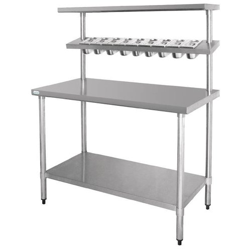 Stainless steel work table with shelving