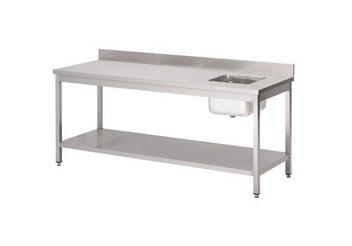 HorecaTraders RVS cheftafel met spoelbak rechts en spatrand | 5 formaten
