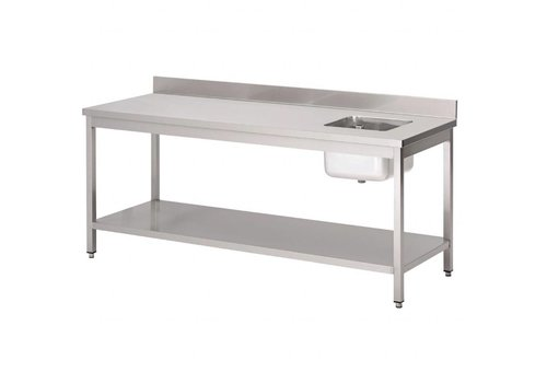 HorecaTraders Stainless steel chef table with sink right and splash-top 5 formats