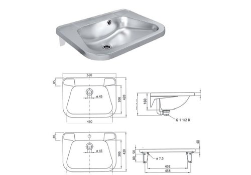 HorecaTraders Washbasin wouter stainless steel with tap hole