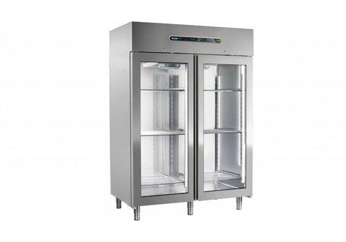 Afinox Business Kühlschrank mit Glastüren MEKANO 1400 BT 2PC | R404A