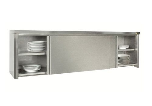 HorecaTraders Wall cabinet with sliding doors stainless steel 304L | 22x47x56