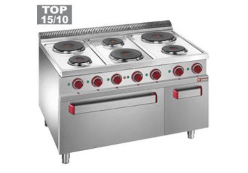 Diamond Elektrisch fornuis met 6 kookplaten en elektrische oven 2/1 GN