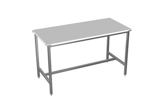 HorecaTraders Stainless steel worktable with polythene worktop