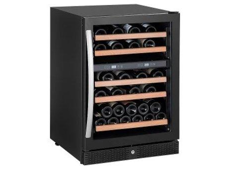 HorecaTraders Zwarte wijnkoelkast met glazen deur 50 flessen